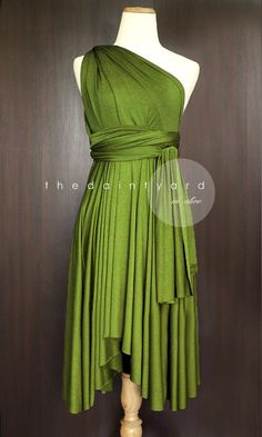 Olive Bridesmaid Convertible Infinity Multiway Wrap Dress Green by thedaintyard on Etsy