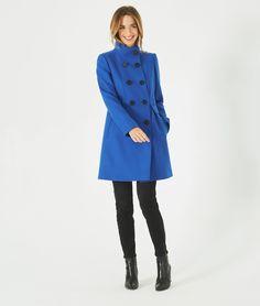 Blauer Mantel aus Woll-Mix mit hohem Kragen Jasmin