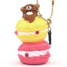 cute Rilakkuma on yellow and pink macaron squishy cellphone charm kawaii 1