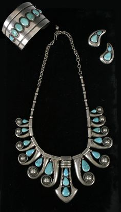295: Sterling Silver Turquoise Frank Patania set. : Lot 295