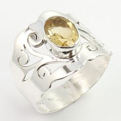 925 Solid Sterling Silver Real CITRINE Gemstone New Collection Ring Size US 7.25 #SunriseJewellers #Fashion