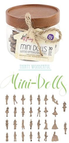 Presenting Julie Nutting's Mini-Dolls! Adorable! Cute! Sweet! These wonderful miniatures all come with stunning etched details. With a little loop at the top (which can easily be snipped off) the wood dolls are perfect for tying on a beautiful gift, or stringing on a festive banner! How many different ideas can YOU come up for using them? #new #DIY #dolls #wooddolls #mini #girls #dressup #giftideas #DIY