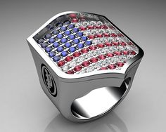 Unique Mens Ring American Shield Ring Sterling Silver with… | Flickr