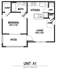 apartment floor plan ~ could make for nice small home Small House Floor Plans, Small Tiny House, Cabin Floor Plans, Bedroom Floor Plans, Tiny House Cabin, Tiny House Living, Cottage Plan, Cottage House, Little Houses