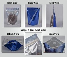 Blue /Clear Stand Up Pouches