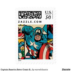 Captain America Retro Comic Book Pattern Postage. Personalize these Classic Marvel character designs and make perfect gifts for any fans. #marvel #comic #gifts #birthday #birthdayparty #birthdaycard #personalize #kids #shopping