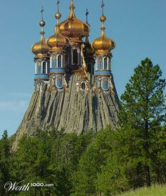 """Another great entry, entitled """"Country Retreat"""", by Cj in the Bizarrchitecture 3 - Worth1000 Contest. Looks like Devil's Tower Wyoming composite with a Russian Orthodox Cathedral. Very clever... I should again emphasise that these images do not purport to represent real places, they are entries in a photographic manipulation competition."""