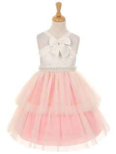 Pink Satin and Tulle Layered Tulle Skirt Flower Girl Dress (Available in Sizes 2-12 in 3 Colors)