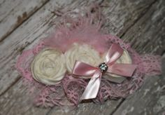 Ivory rosette and pink lace headband...oh so girly by JLexiJolie, $24.99