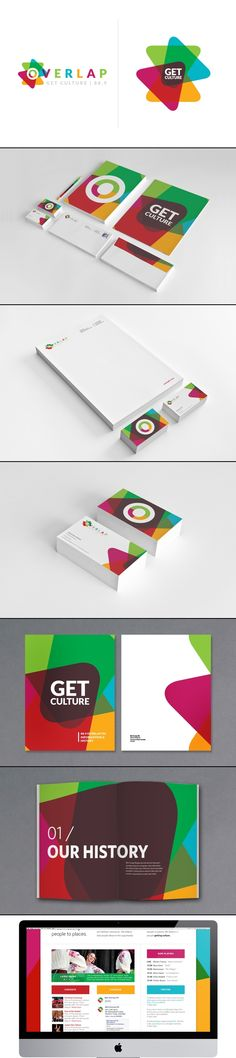 Possibly use the overlapping effect and make some colors a little transparent so you can see through to the next?? Overlap / Design / Branding | bright POP colors / www.LogoGestaltung-Hamburg.de