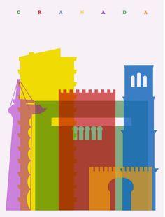 ilustracion. yoni alter. Granada, España. Siluetas monumentos. Alhambra. Color