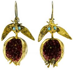 Uncommon Seam | Gorgeous 18-24k gold plated pomegranate earrings, hand-made in Istanbul using ancient techniques. See more there is to offer at uncommonseam.com