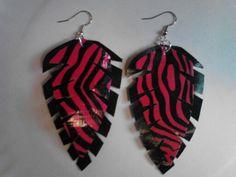 Pink zebra duct tape earrings