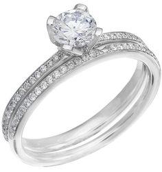 Diamond Wedding Ring Set, .19 Carat Diamonds on 14K White Gold