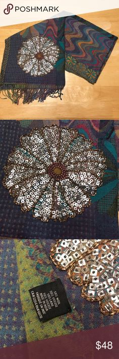 Anthropologie Beaded Large Wool Scarf Wrap Beautifully made!! Great for any season! Amazing beadwork. Maybe 1-2 missing beads. Anthropologie Accessories Scarves & Wraps