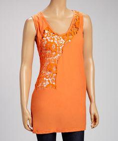 Love this Orange Crochet Patch Sleeveless Top by Farinelli on #zulily! #zulilyfinds