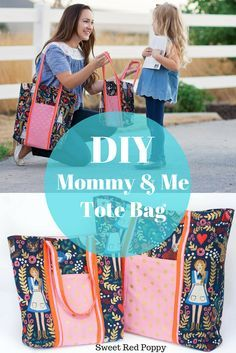 DIY Mommy and Me Tote Bag Tutorial for Back To School Cotton and Steel Rifle Paper Co.