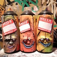 Image of 1 OF 3 CUSTOM SPRAY CAN SCULPT GRAFFITI MONSTER RECYCLED ART ORIGINAL GIFT IDEA