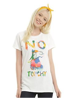 "Fitted white tee from Disney's <i>The Emperor's New Groove</i> featuring a colorful <span class=""st"">Kuzco (in Llama form) design with text that reads ""No Touchy.""<br></span><ul><li style=""LIST-STYLE-POSITION: outside !important; LIST-STYLE-TYPE: disc !important"">100% cotton</li><li style=""LIST-STYLE-POSITION: outside !important; LIST-STYLE-TYPE: disc !important"">Wash cold; dry low</li><li style=""LIST-STYLE-POSITION: outside !important; LIST-STYLE-TYPE: disc !important"">Imported</li><li…"