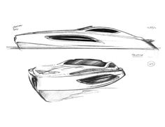 Aston Martin Voyage 55 Boat Concept Sketch - Car Body Design