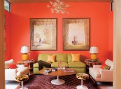 love the lime sofa and hot orange walls! Coral Living Rooms, Coral Bedroom, Eclectic Living Room, Living Room Green, Bedroom Colors, Living Room Bedroom, Living Room Decor, Bedroom Ideas, Coral Walls