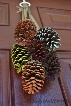 Fall & Thanksgiving decor - If you're looking for the perfect way to let your kids pitch in with the fall decorations, look no further! These painted pinecones will dress your door in fall hues--the perfect substitution for a fall wreath. Autumn Crafts, Thanksgiving Crafts, Holiday Crafts, Harvest Crafts For Kids, Fall Crafts For Kids, Summer Crafts, Holiday Decor, Painted Pinecones, Pine Cone Crafts