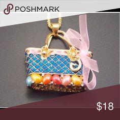 Betsey Johnson Handbag (Ribbon is BLUE) Necklace Betsey Johnson Handbag (Ribbon is BLUE) Necklace Betsey Johnson Jewelry Necklaces