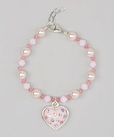 Loving this Light Pink Heart Pearl Bracelet on #zulily! #zulilyfinds