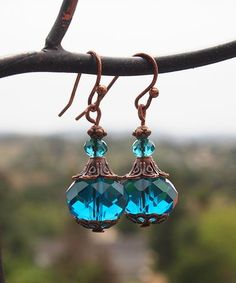 Look what I found on #zulily! Teal Crystal & Coppertone Drop Earrings #zulilyfinds