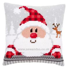 Buy Santa in a Plaid Hat Cushion Front Chunky Cross Stitch Kit Online at www.sewandso.co.uk