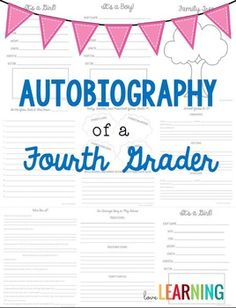 """Autobiography of a Fourth Grader {A Memory Book Project}  This bundle includes:   1. Teacher instructions and resources 2. Four ready-made covers that students can choose from 3. 12 student pages 3. Template asking parents to send in a letter written to their child 4. Extra assignment ideas for """"fast finishers"""""""