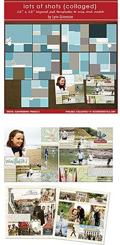 Lots-of-shots-collaged photobook templates, Lynn Grieveson, Designer Digitals