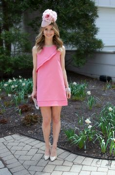 Fascinating Facinators – Kentucky Derby Style, Kentucky Derby Outfit, Kentucky Derby Hat, Pink Shift Dress #zara