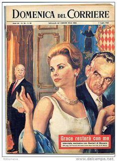 1962 Italian Magazine GRACE KELLY Princess of Monaco and Alfred Hitchcock on cover
