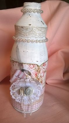 Garrafa decorada/Shabby Chic