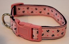 "Pink Nautical Anchors 1"" Dog Collar, $15.00, Find Bonzai Gifts on facebook for more!"
