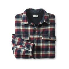 Fleece-Lined Flannel Shirt, Traditional Fit ($64) ❤ liked on Polyvore featuring tops, shirts, flannels, men, fleece lined shirt, shirts & tops, flannel shirts, fleece lined flannel shirt and black top