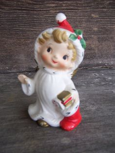 """1950's kitsch vintage Christmas """"Lefton"""" figurine-whimsical Christmas decor"""