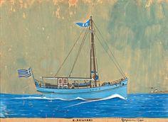 Κέφης Διαμαντής – Diamantis Kefis [1901-1976] Greece Painting, Painted Rocks Craft, Summer Painting, Greek Art, Rock Crafts, Conceptual Art, Sailing Ships, Printmaking, Modern Art