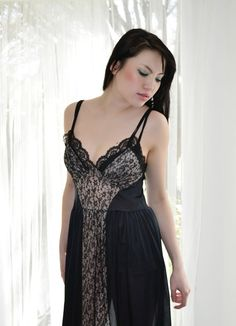 2175be76b5 Black Illusion Lace Slip Nightgown Vintage Lingerie 50s Negligee by  empressjade https   www
