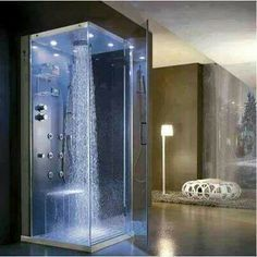 """Multifunction shower cabin by HAFRO on Wanelo.Love the top """"rain"""" shower head! Dream Bathrooms, Beautiful Bathrooms, Luxury Bathrooms, Douche Design, Dream Shower, Shower Cabin, Modern Shower, Modern Bathroom, Home Fashion"""