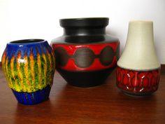 3 West German Mini Vases