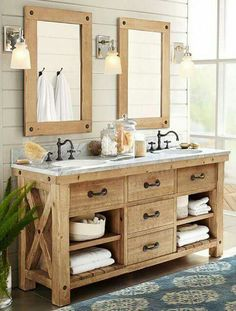 There are several different styles of rustic bathroom vanities below including mission, shaker, rustic, farmhouse, vintage, and contemporary.