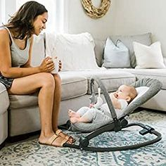 Amazon.com : Baby Delight Deluxe Portable Rocker Bouncer, Aura : Baby Best Baby Bouncer, Bouncers, Baby Swings, Tweed Fabric, Baby Safe, Infant Activities, Baby Hacks, Folded Up, Bassinet