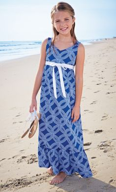 Long blue and white patterned girls sundress jumper with bow at waist and a nice ruffle... Girls Clothing by CWDkids