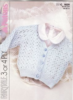 Raglan Cardigan in 3 sizes with instructions for 2 yarn weights The pattern is in excellent used condition - I dont think it has been used - I certainly couldnt have kept in such pristine condition! This is an original pattern - I do not sell copies or downloads