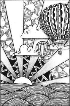 Hot Air Ballooning Over The Hill Side. Inspirational Tangle Picture. so awesome and pretty!