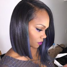 Angled bob hairstyle for black women with thin hair