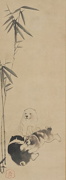 Puppies. Nagasawa Rosetsu (Japanese, 1754–1799). Edo period (1615–1868) M. ca. Japan. One of Triptych of hanging scrolls, with hotel and Jittoku. ink on paperThese three paintings are probably from a set of twelve once mounted on a pair of screens showing well-known Japanese and Chinese sages.