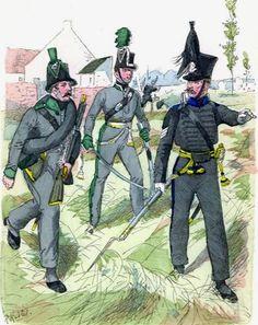 Cacciatore, ufficiale dei cacciatori e sergente dei fucilieri della fanteria leggera del ducato di Brunswick